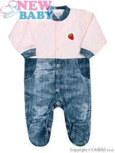 Dojčenský overal New Baby Dark Jeansbaby ružový - Ružová