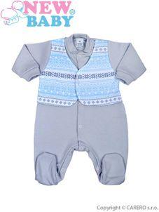 Dojčenský overal New Baby Etnik sivo-modrý - Sivá