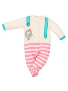 Dojčenský štýlový overal Koala Alex béžovo-tyrkysovo-ružový - Béžová