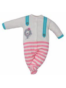Dojčenský štýlový overal Koala Alex tyrkysovo-ružový - Biela