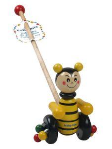 Drevená jazdiacia hračka Baby Mix včielka - Žltá