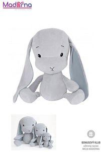 Effík Bunny šedý s modrými uškami S,M,L