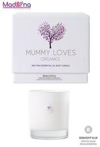 Mummy Loves Organics Esenciálna olejová telová sviečka Beautiful