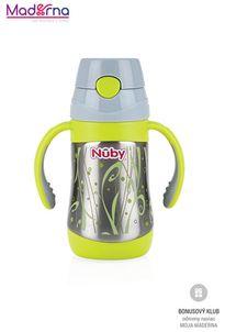 Nuby nerezová termoska so slamkou a rúčkami 280 ml