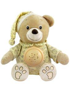 Plyšový medvedík v čiapočke s projektorom Baby Mix krémový - Krémová