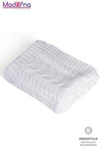 Rialto Baby Pletená deka bavlna, biela, vrkôčiky