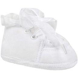7366046de Detské capáčky Bobo Baby zateplené kožušinkou 6-12m biele so saténovou  šnurovačkou - Biela