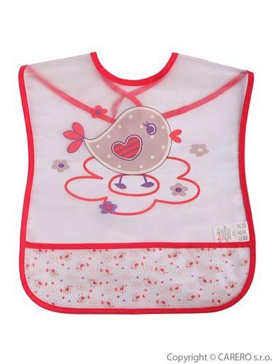 Detský podbradník s kapsičkou Akuku s vtáčikom - Ružová