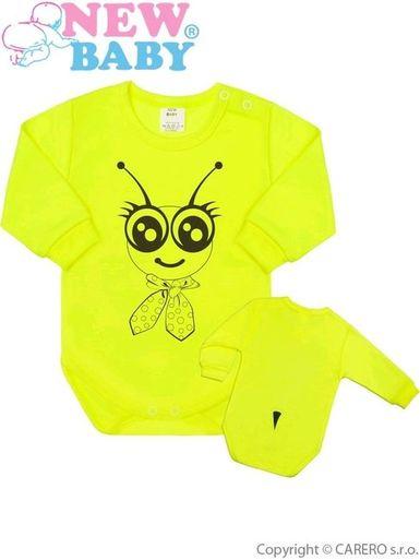 Dojčenské body s dlhým rukávom New Baby Zvieratko Včielka neonové - Neonová
