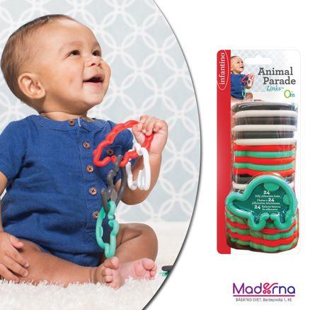 Infantino Krúžky spojovacie zvieratká 24 ks zelené