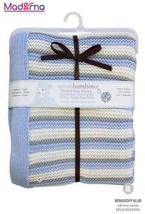 Piccolo Bambino pletená deka 76x91cm pruhovaná modrá