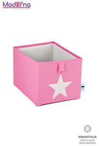 STORE IT Úložný box malý ružová s bielou hviezdou
