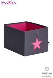 STORE IT Úložný box malý šedá s ružovou hviezdou