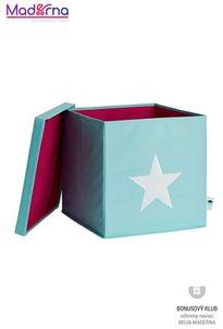 STORE IT Úložný box s vekom mintová s bielou hviezdou