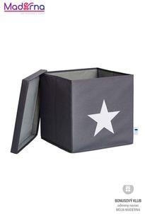 STORE IT Úložný box s vekom šedá s bielou hviezdou